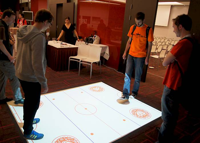 Interactive floor with an integration game