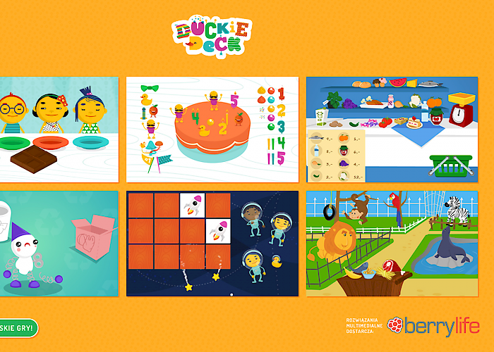 Application interface with games for kids -  Duckie Deck
