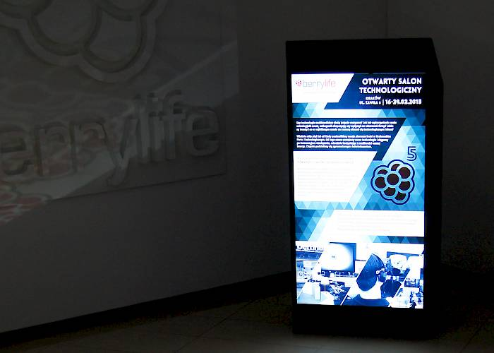 Multimedia stand with a presentation
