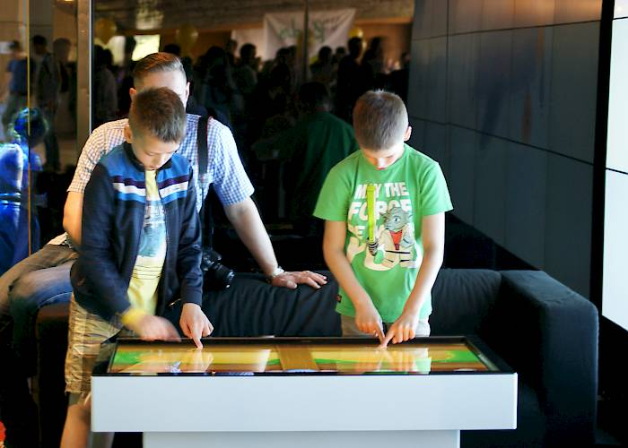 Interactive table with game for kids