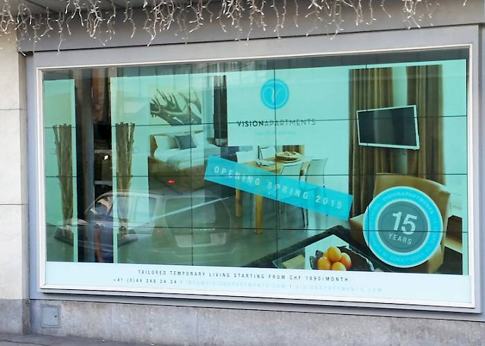 Vision Apartments Renting Center in Zurich - interactive store front